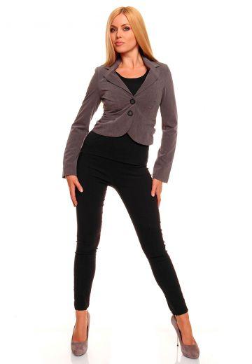 Вталено дамско сако в кафяв меланж