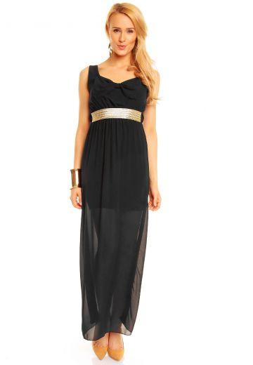 Дълга черна рокля с изящен колан
