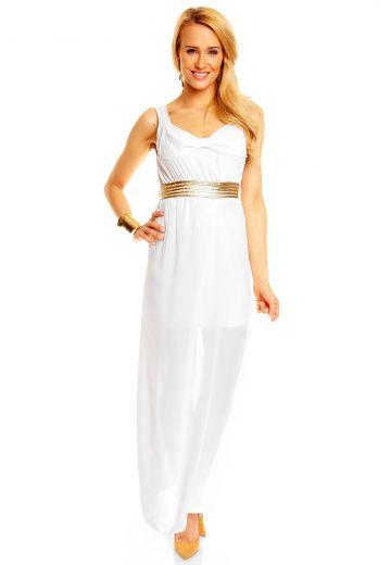 Дълга бяла рокля с изящен колан