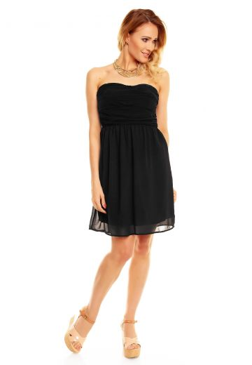 Черна рокля без презрамки с колан в талията