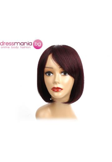 Дамска перука права с бретон от естествен косъм #J99