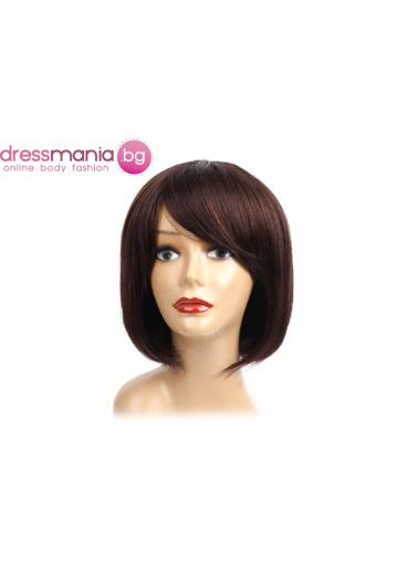 Дамска перука права с бретон от естествен косъм #4
