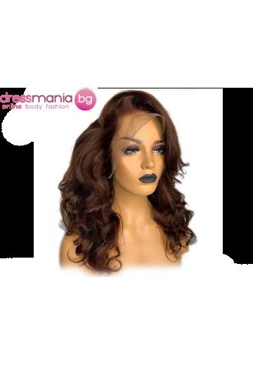 Дамска перука от естествен косъм в кестеняв цвят и вълнисти къдрици