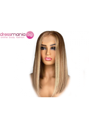 Дамска перука от естествен косъм в рус микс
