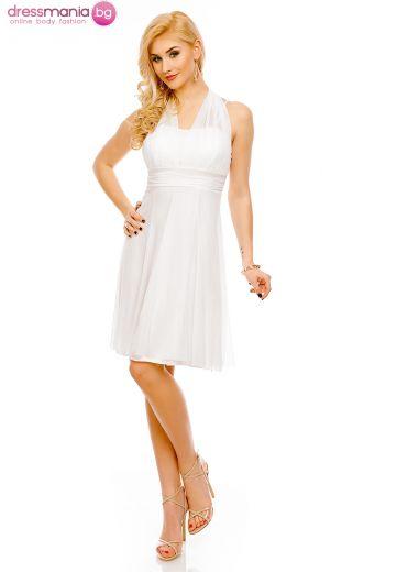 Бяла рокля с гол гръб Elite