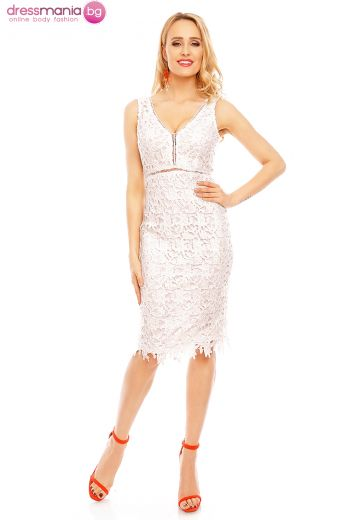 Бяла рокля за официален повод от нежна дантела