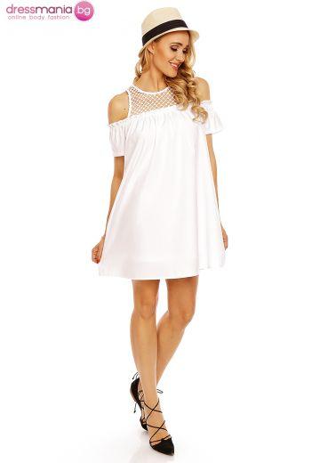 Къса бяла лятна рокля Showny