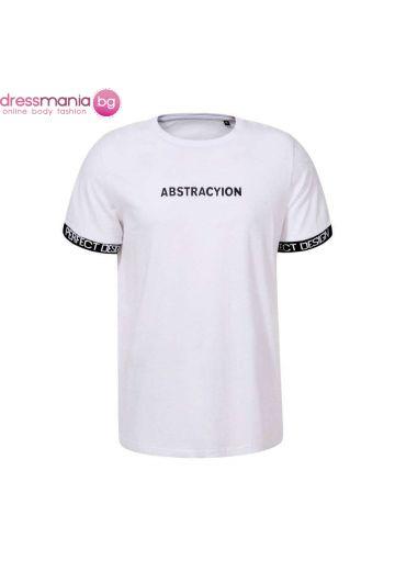 Мъжка тениска в черно и бяло Glo Story