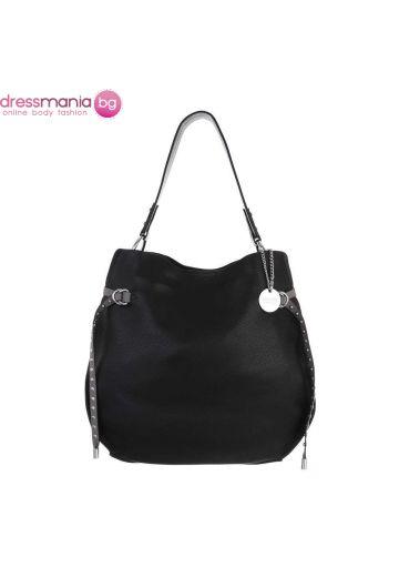 Дамска ежедневна кожена чанта в черно