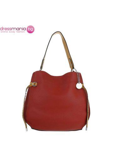 Дамска ежедневна кожена чанта в керемиденочервено