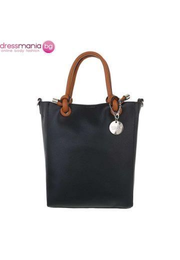 Правоъгълна дамска чанта в черно