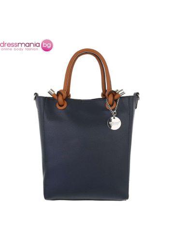 Правоъгълна дамска чанта в тъмносиньо