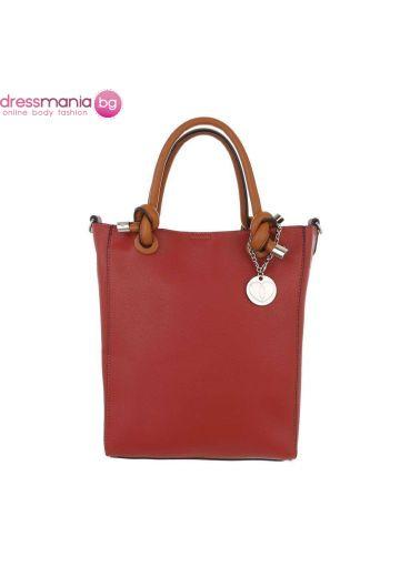 Правоъгълна дамска чанта в керемиденочервено