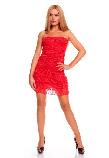Червена дантелена рокля без ръкави