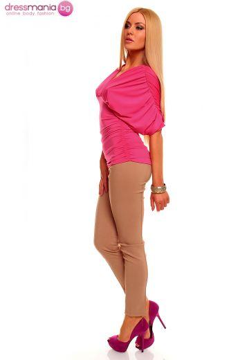 Официална блуза в цвят фуша