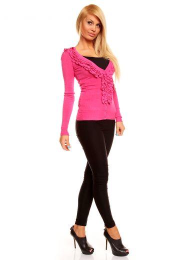 Нежен розов пуловер жилетка