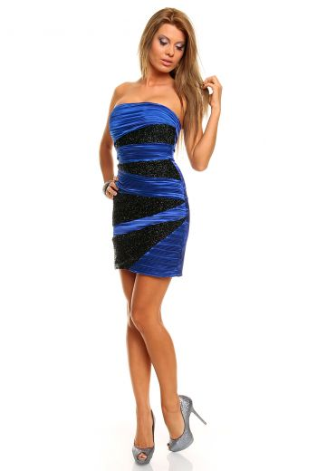Блестяща рокля в черно и синьо
