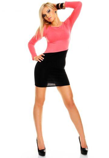 Двуцветна рокля по тялото черно и розово