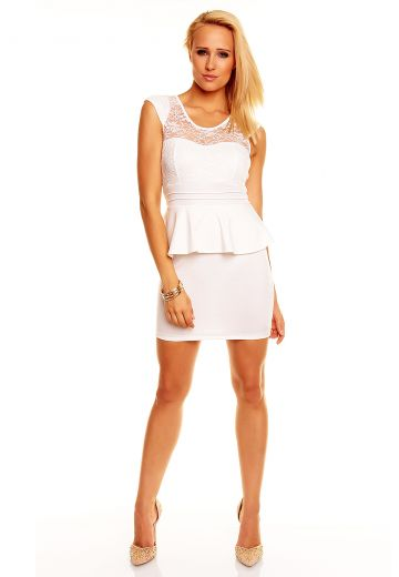 Изключително изящна рокля блед крем