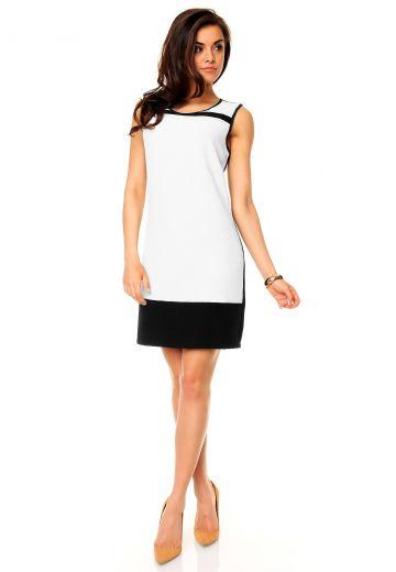 Стилна лятна рокля в бяло и черно