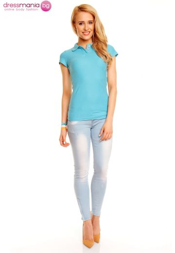 Поло тениска Eight2Nine в аква синьо