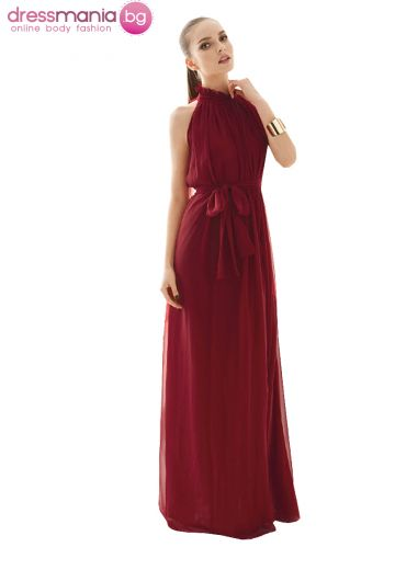 Дълга разкроена рокля цвят бордо