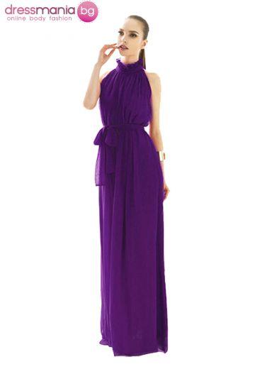 Дълга разкроена рокля цвят сияйна орхидея