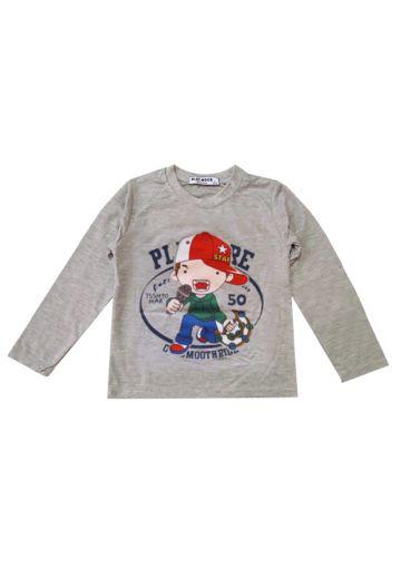 Сива детска блуза с принт аниме EVIL