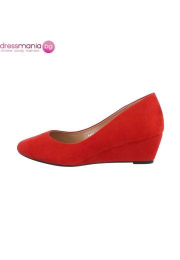 Ежедневни дамски обувки червен набук