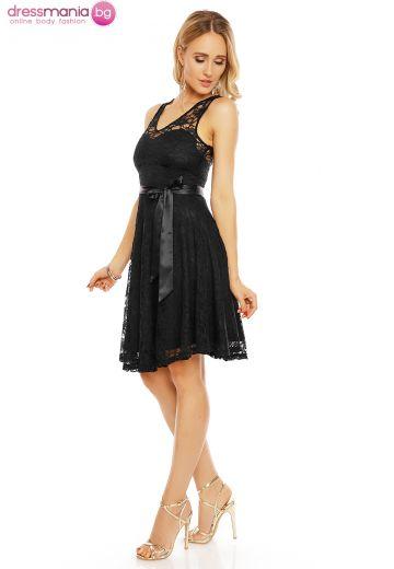 Официална дантелена рокля в черно Mayadii