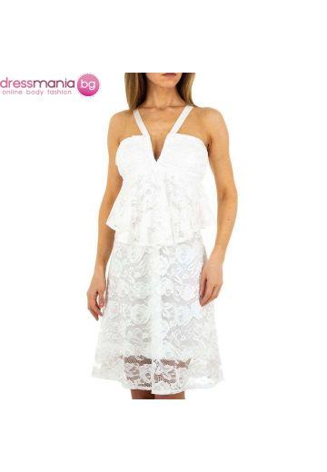 Къса бяла дантелена рокля