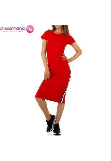 Ежедневна спортня лятна рокля в червено