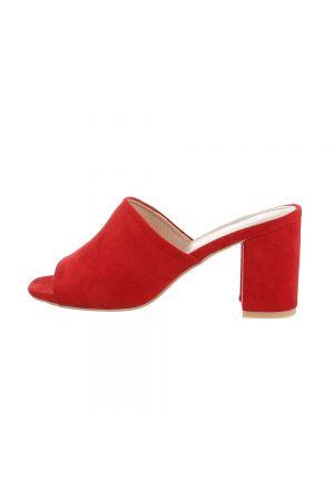 Елегантни дамски чехли в червено