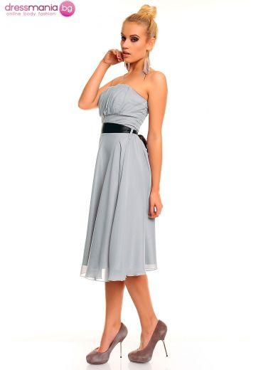 Официална бледа рокля с черен колан