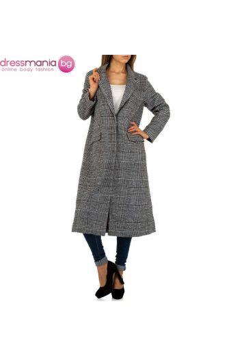 Дамско палто в черно и бяло JCL