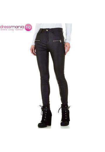 Дамски панталон еко кожа в черно Daysie