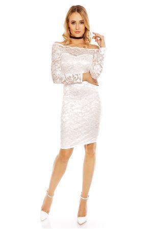 Бяла дантелена рокля за официален повод Mayaadi