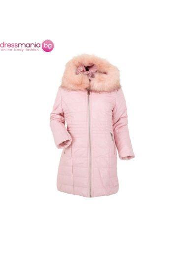 Детско зимно яке за момиче в розово