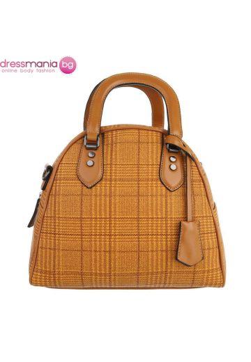 Текстилна дамска чанта жълто каре