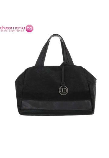 Ежедневна дамска чанта от фин еко набук в черно