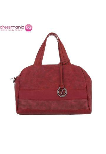 Ежедневна дамска чанта от фин еко набук в червено