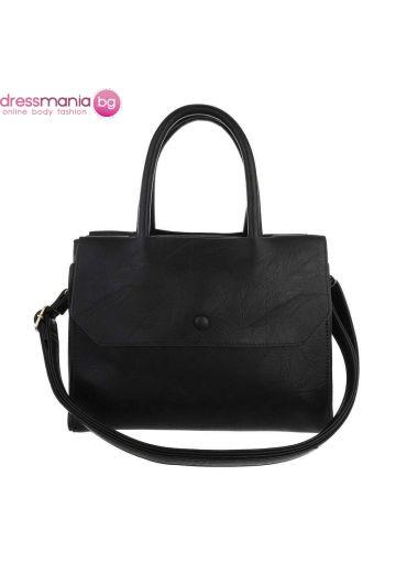 Ежедневна кожена дамска чанта в чернно