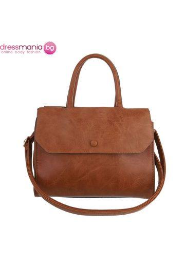 Ежедневна кожена дамска чанта в класик кафяво