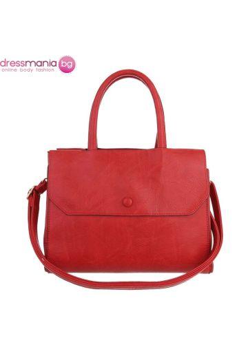 Ежедневна кожена дамска чанта в червено