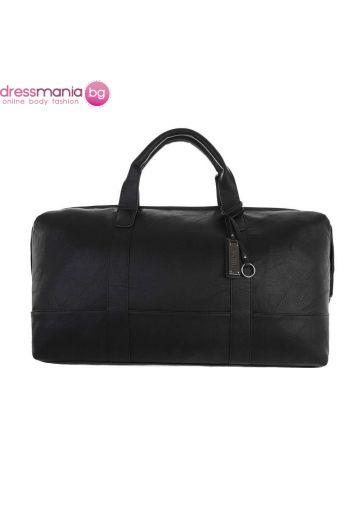 Кожена дамска чанта за пътуване в черно