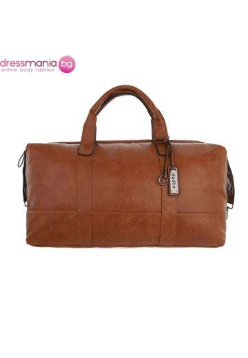 Кожена дамска чанта за пътуване в цвят камел