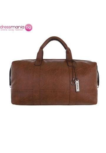 Кожена дамска чанта за пътуване в цвят класик кафяв