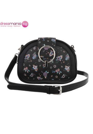 Малка дамска чанта с флорален декор - в черно