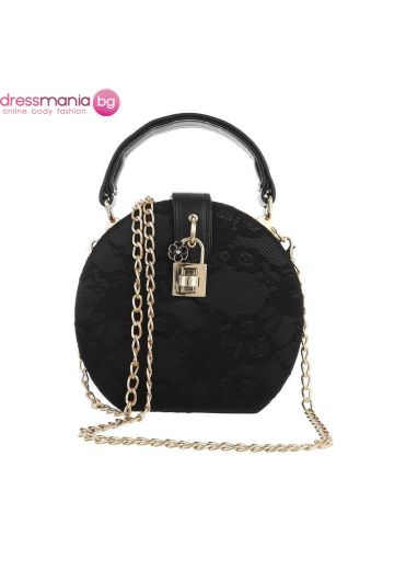 Официална дамска чанта в кръгла форма в черно с дантела