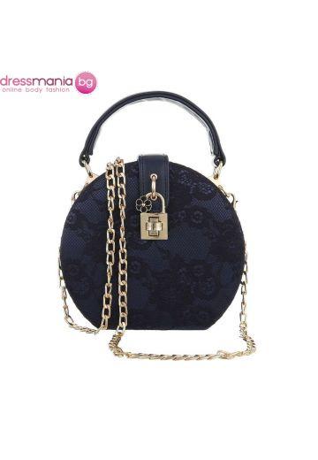 Официална дамска чанта в кръгла форма в тъмносиньо с дантела